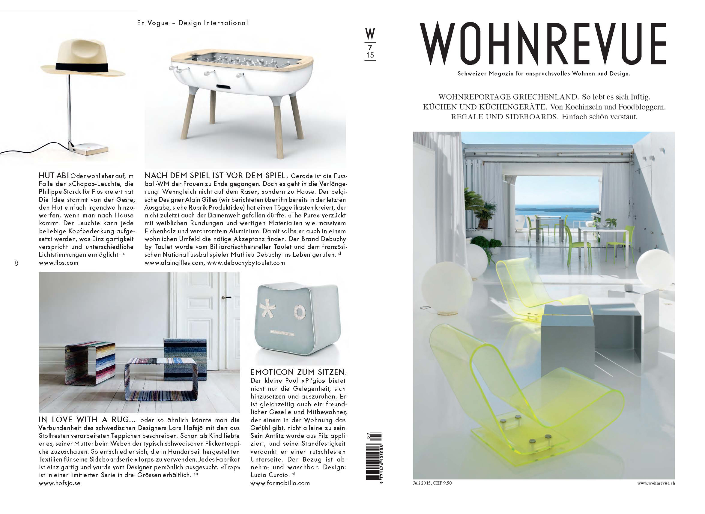 Article WOHNREVUE   Foosball The Pure   July 2015