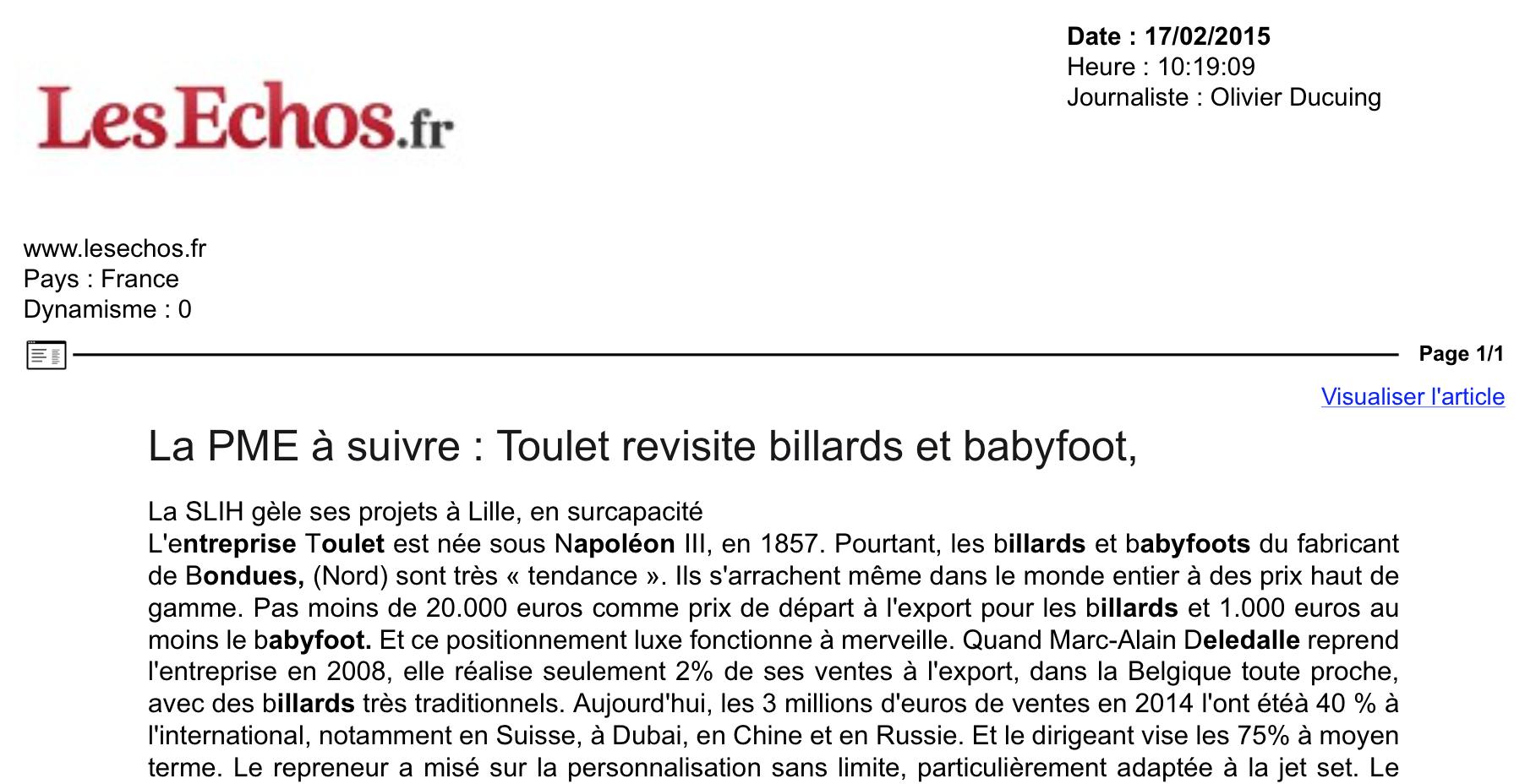 84c93e8ceffbe2 Debuchy by Toulet revisite les baby-foot - Les Echos - Février 2015